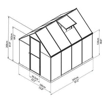 Load image into Gallery viewer, Palram HG5508PH Hybrid Hobby Greenhouse w/Plant Hangers, 6' x 8' x 7', Silver