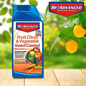 BioAdvanced 701520A Fruit, Citrus & Vegetable Insect Control for Edible Gardening Concentrate, 32-Ounce