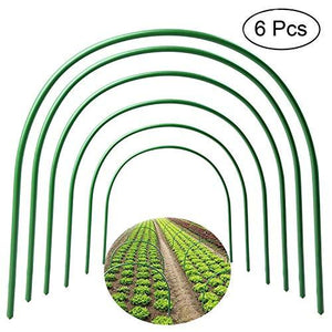 "F.O.T 6Pcs(25.6"" x 23.6"") Greenhouse Hoops,Plant Support Garden Stakes, Rust-Free Grow Tunnel 4.9ft Long Steel with Plastic Coated Support Hoops Frame for Garden Fabric, Plant Support Garden Stakes"