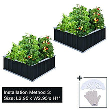 "Load image into Gallery viewer, KING BIRD 67.2""x 67.2""x 11.8"" 4 Installation Methods for DIY Raised Garden Bed Galvanized Steel Metal Planter Kit Box Grey W/ 8pcs T-Types Tag & 2 Pairs of Gloves (Charcoal-Grey)"