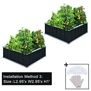"KING BIRD 67.2""x 67.2""x 11.8"" 4 Installation Methods for DIY Raised Garden Bed Galvanized Steel Metal Planter Kit Box Grey W/ 8pcs T-Types Tag & 2 Pairs of Gloves (Charcoal-Grey)"