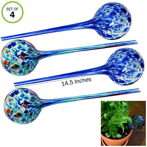 Evelots Plant Watering Globes/Bulbs-Automatic System-Extra Long-14.5 Inch-Set/4