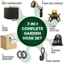 Load image into Gallery viewer, TBI Pro Garden Hose Expandable - Superior Strength 3750D / 4-Layers Latex/Extra-Strong Brass Connectors / 10-Way Durable Zinc Water Spray Nozzle, 2-Way Pocket Flexible Splitter (100 Feet)