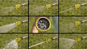 "The Relaxed Gardener Watering Wand - 15"" Garden Hose Nozzle Sprayer 8 Adjustable Spray Patterns and Thumb Control Shut Off Valve"