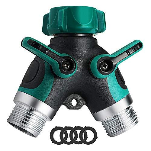 Haneye Hose Splitter, Garden 2 Way Hose Connector, Water Hose Splitter with Shut Off Valve, 3/4 Connector, Y Hose Connector for Garden and Home (3 Free Washers)