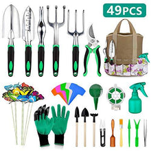 Load image into Gallery viewer, 49 Pcs Garden Tools Set, Extra Succulent Tools Set, Heavy Duty Gardening Tools Aluminum with Soft Rubberized Non-Slip Handle Tools, Durable Storage Tote Bag, Gifts for Men Women
