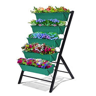Riforla 4-Ft Raised Garden Bed - Vertical Garden Freestanding Elevated Planters 5 Container Boxes - Good for Patio Balcony Indoor Outdoor - Cascading Water Drainage to Grow Vegetables Herbs Flowers
