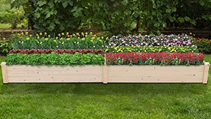 Patiomore 8 Feet Outdoor Wooden Garden Bed Planter Box Kit for Vegetables Fruits Herb Grow Yard Gardening, Natural