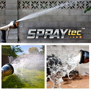 SprayTec Garden Hose Nozzle Sprayer – Heavy Duty Metal Spray Gun w/Pistol Grip Trigger. 9 Adjustable Patterns Best for Hand Watering Plants & Lawn, Car Washing, Patio, Dog & More. Leak Free Guarantee
