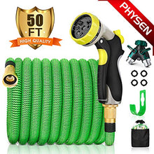 Load image into Gallery viewer, PHYSEN Garden Hose 50Ft Expandable Water Hose-Superior Triple Layer Latex Core&Latest Improved Fabric Protection&Durable Brass Connectors with 8 Way Hose Nozzles/2 Way Hose Splitter