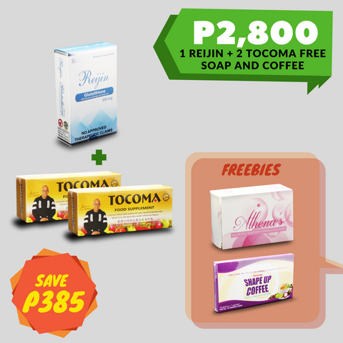 1 Reijin Glutathione + 2 Tocoma + FREE SOAP and COFFEE