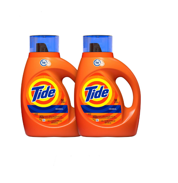 Tide Original Scent HE Turbo Clean Liquid Laundry Detergent, 50 Fl Oz (32 Loads), 2 Count