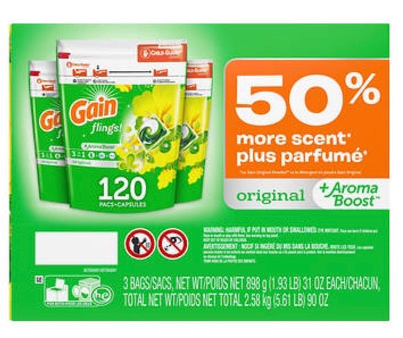 Gain Flings Original HE Laundry Detergent Pacs, 120 ct.