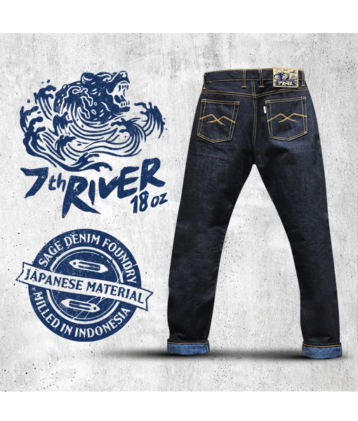 7th Anniversary Special : River 18oz Unsanforized Deep Indigo x Blue Weft