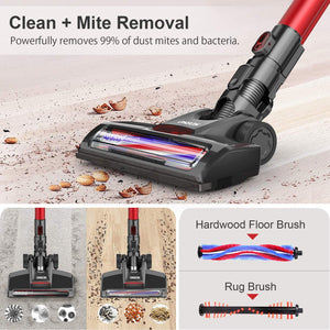 ONSON Cordless Vacuum Cleaner, Vacuum Cleaner, Powerful Suction 2 in 1 Stick Vacuum for Hardwood Floor Carpet Pet Hair with echargeable Lithium Ion Battery, Red