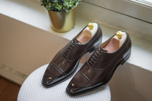 Carlos Santos Medium Brown Punched Captoe Balmoral Oxford
