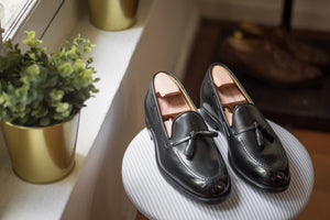 Carlos Santos Black Tasseled Loafers