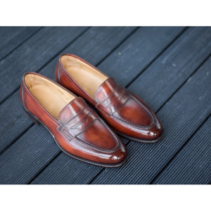 Carlos Santos Penny Loafers in Wine Shadow Patina (Odd Stock)