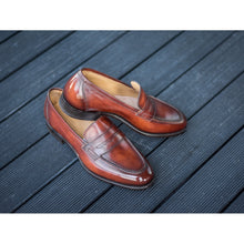 Load image into Gallery viewer, Carlos Santos Penny Loafers in Wine Shadow Patina (Odd Stock)