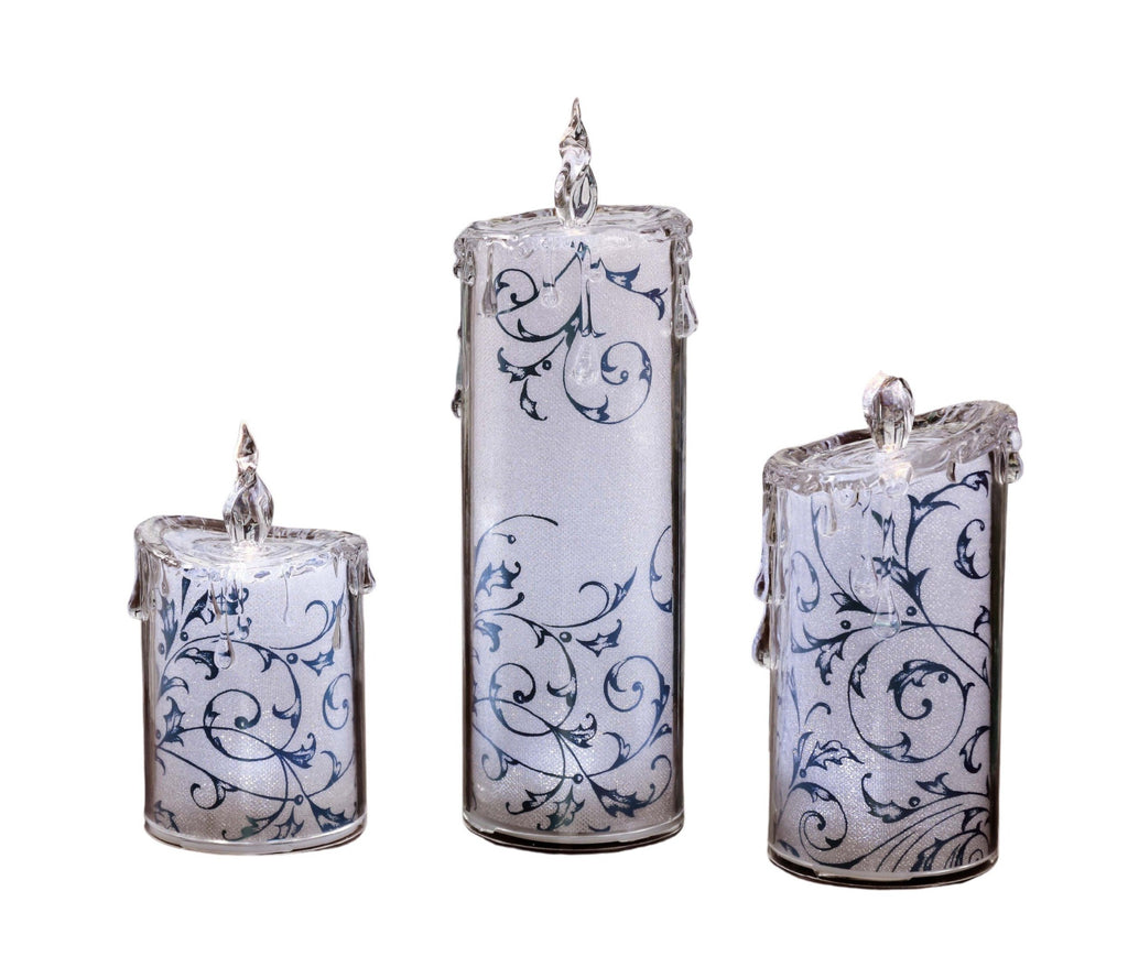 Blue Swirly Leaves Candle Set - Icycraft