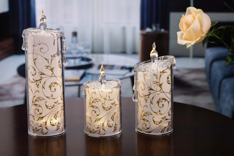 Gold Swirly Leaves Candle Set