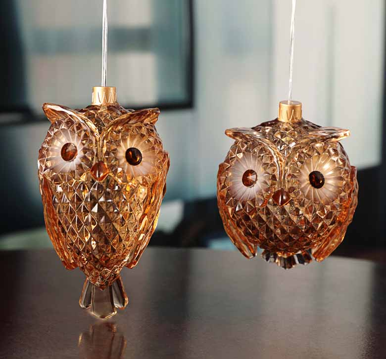 Amber Owls Orn