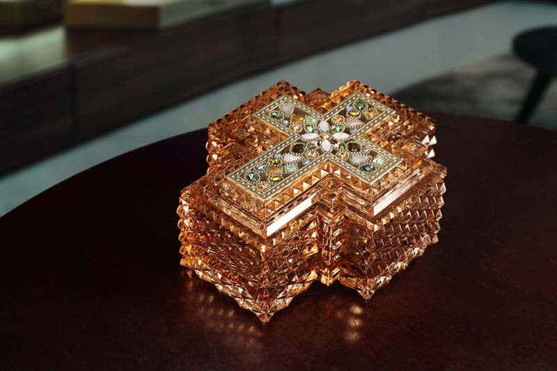 Cross Amber Jewelry Box