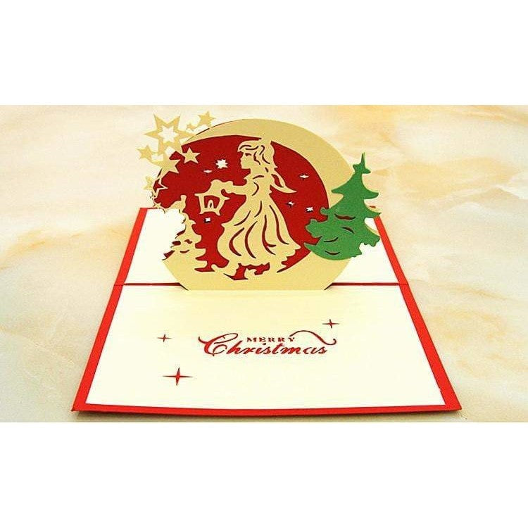 Little Lamp Girl Merry Christmas Pop-Up Card - Icy Craft