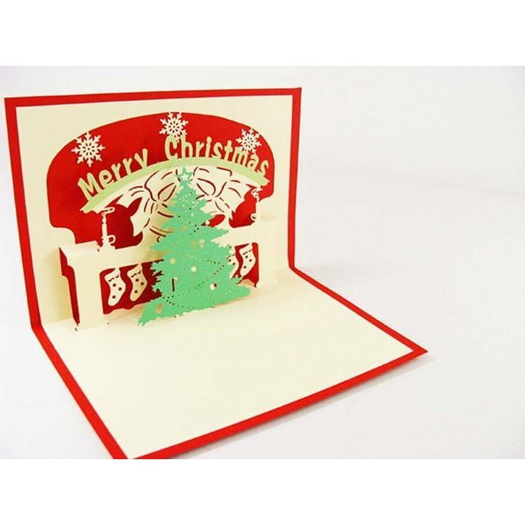Merry Christmas Fireplace Stand-Up Card - Icy Craft