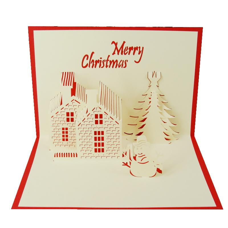Merry Christmas Brick House Stand-Up Card - Icy Craft