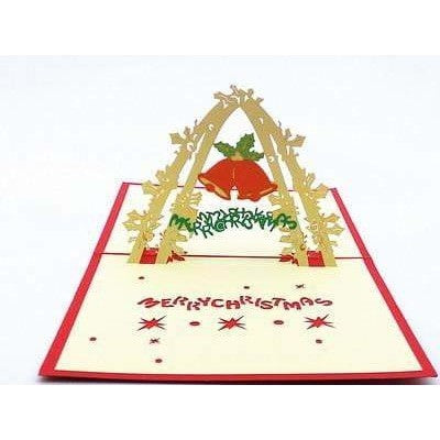 Bell Arch Merry Christmas Pop-Up Card - Icy Craft
