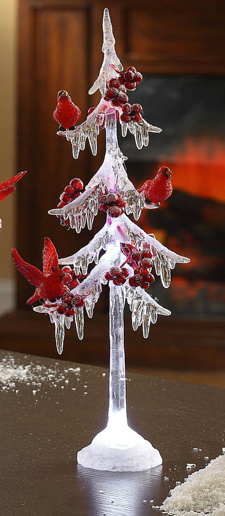 Icicle Tree w/ Cardinals 13""
