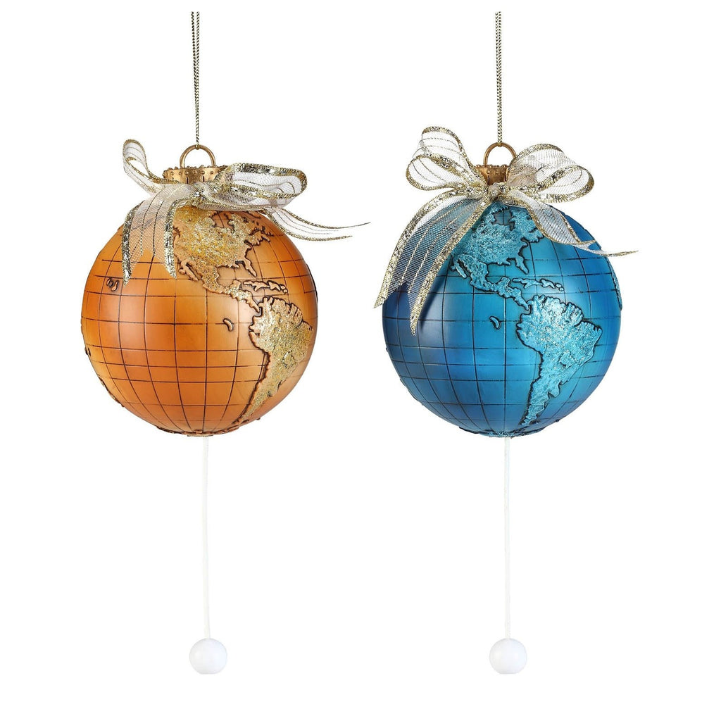 Antique & Blue Pull-String Globe Orn. - Icy Craft