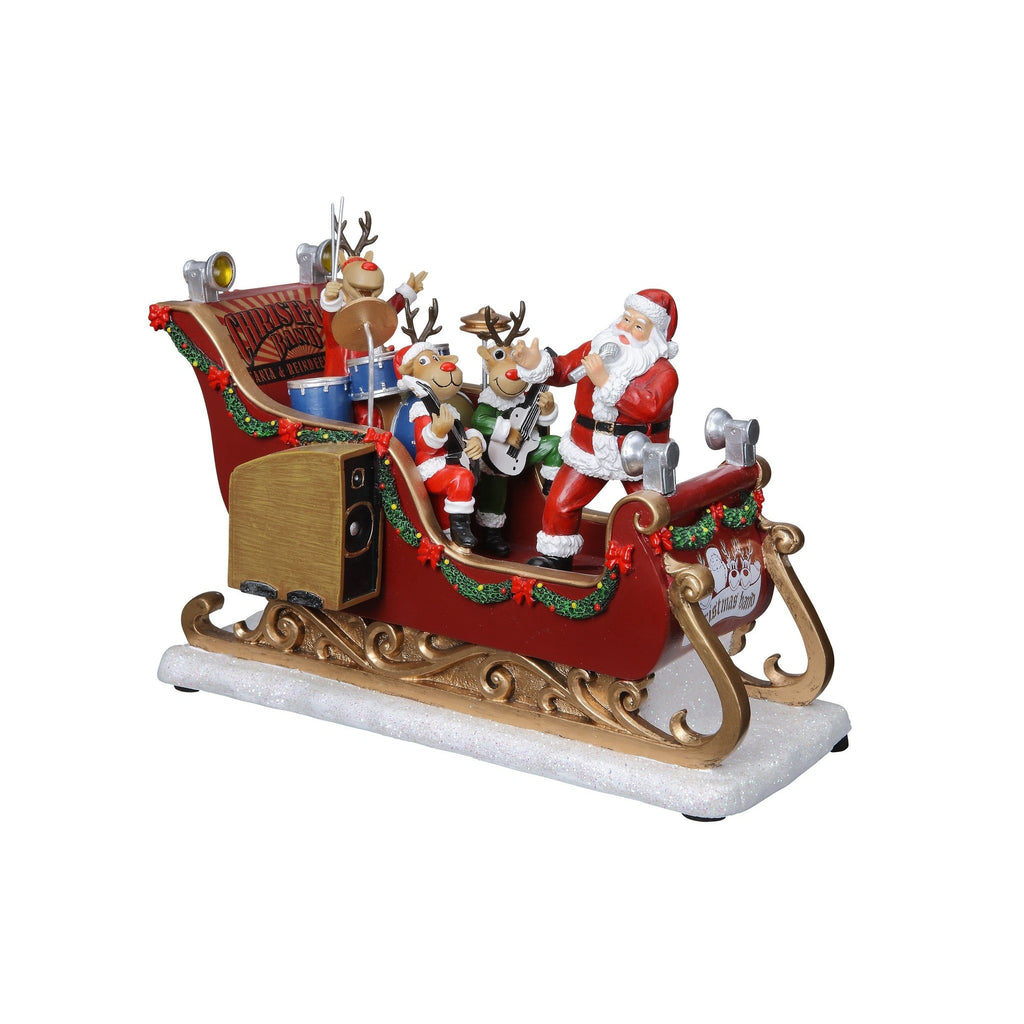 Santa & Reindeer Musical Band Sleigh - Icy Craft