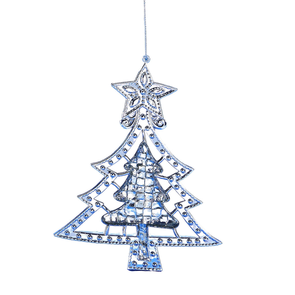 Silver Metallic Christmas Tree Orn. - Icy Craft