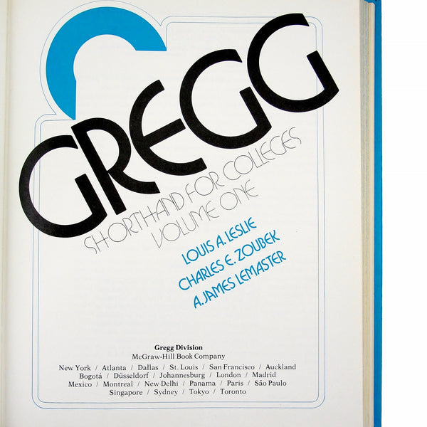 Gregg Shorthand for Colleges, Vol 1