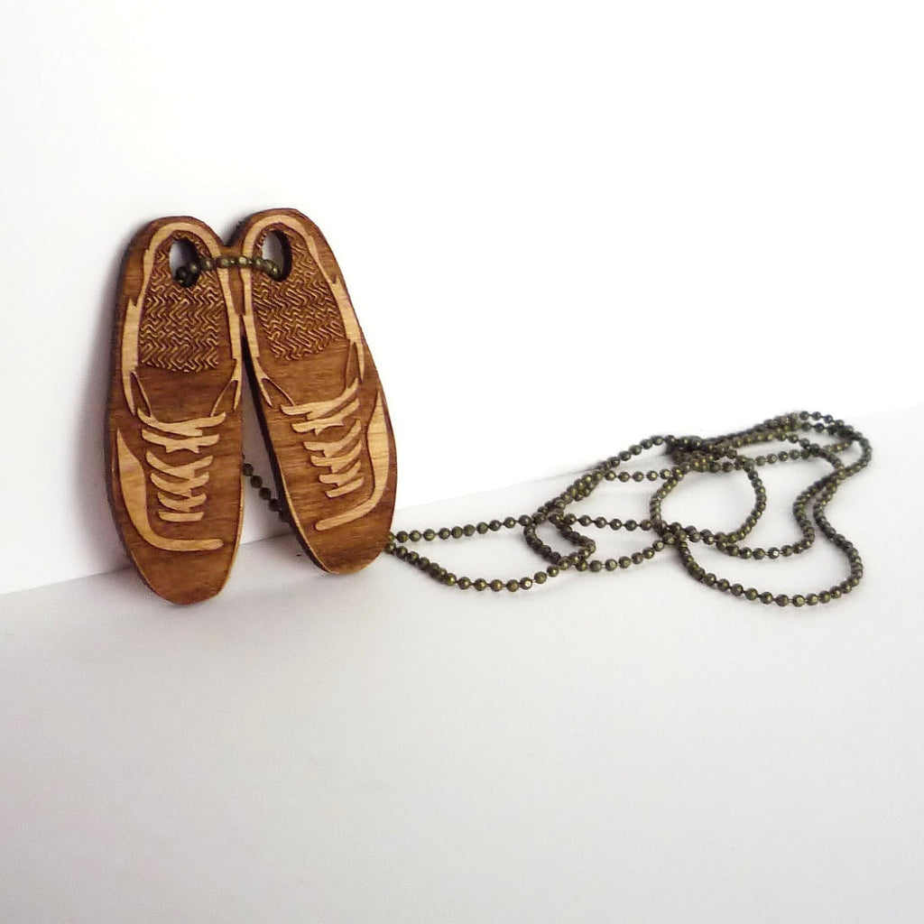 Wood Shoe Necklace
