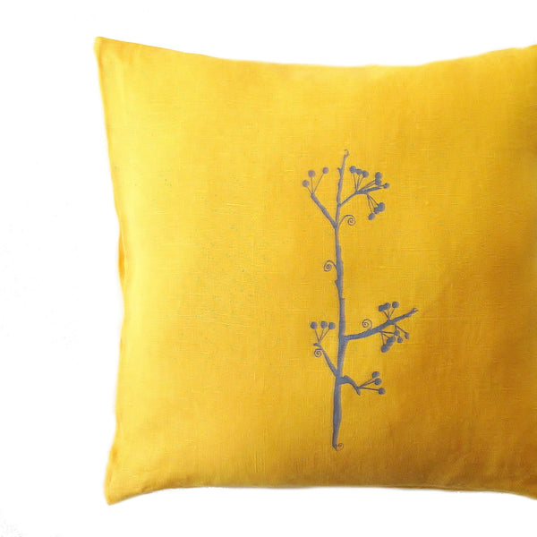 Linen Berry Branch Pillow Cover