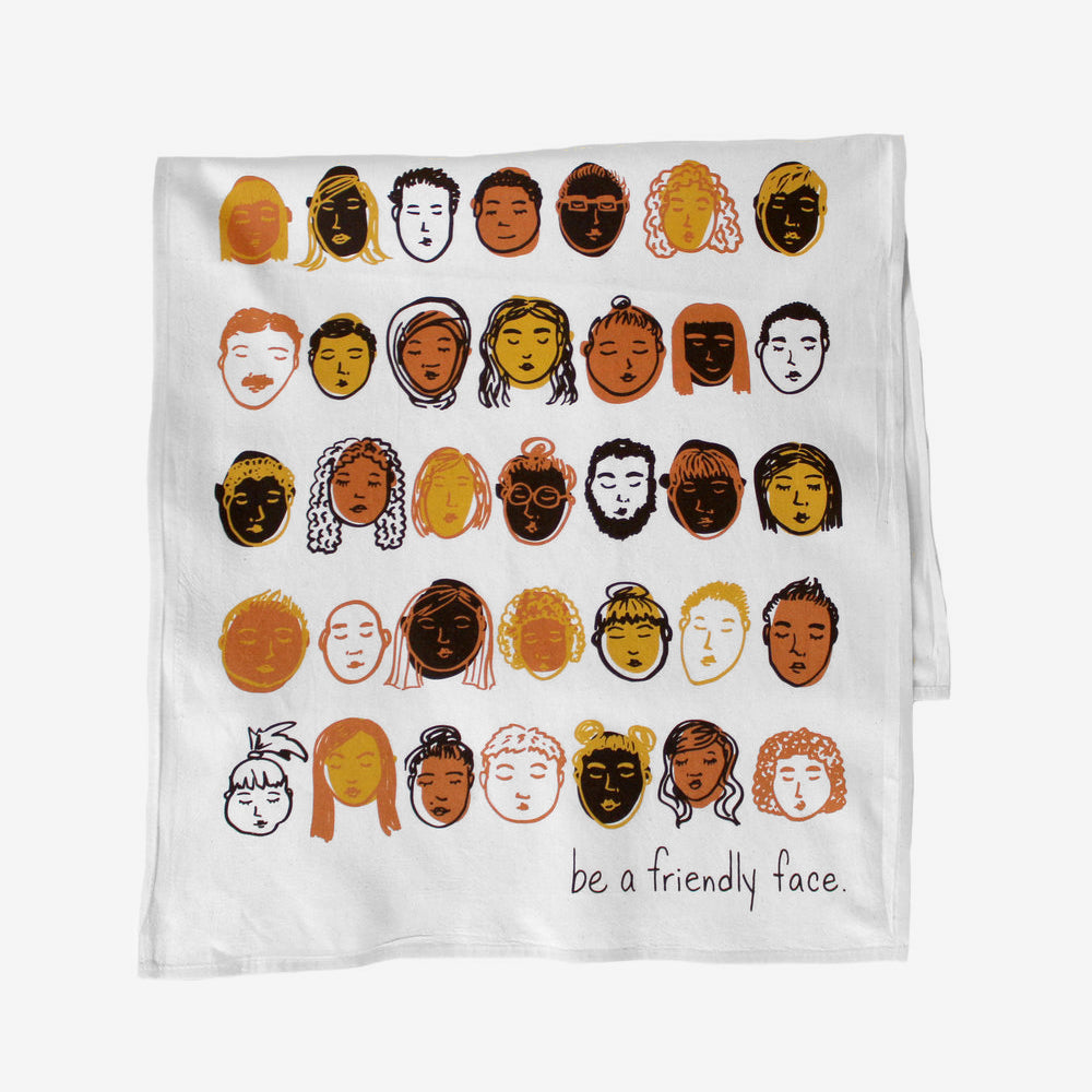 Friendly Faces Tea Towel