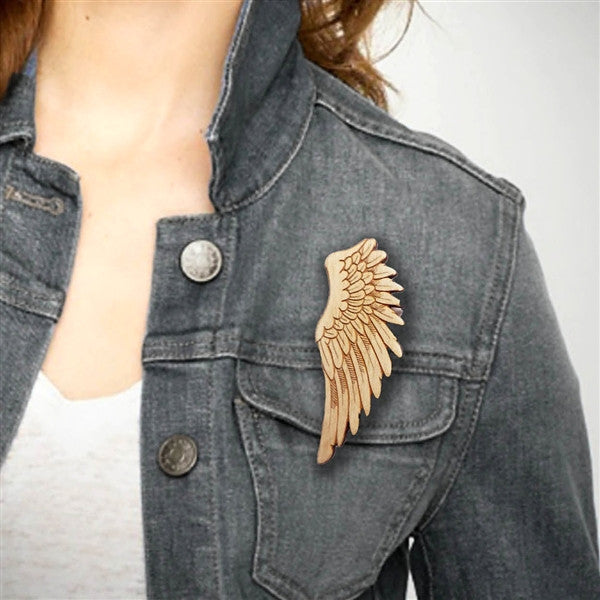 Wood Wing Brooch