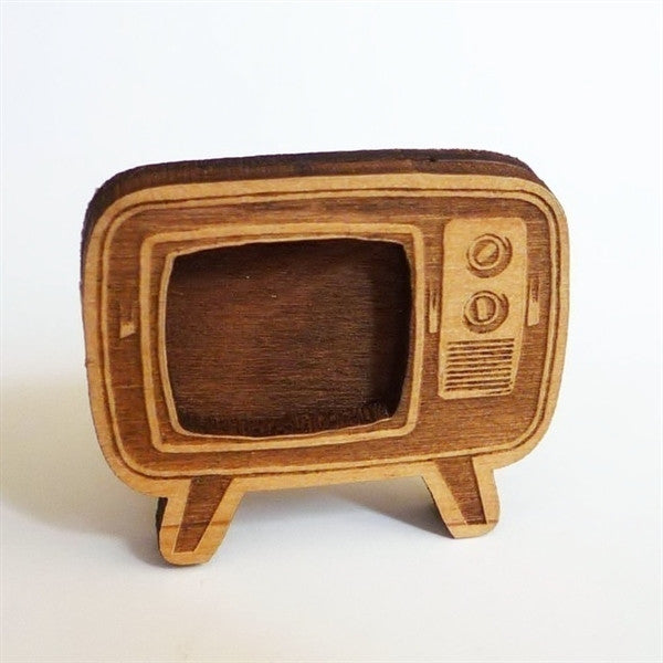 Wood TV Brooch