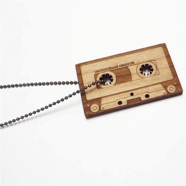 Wood Cassette Necklace