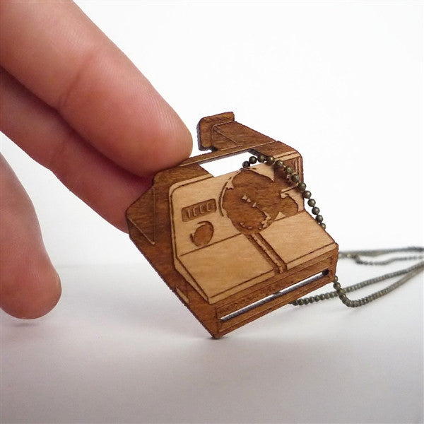 Wood Camera Necklace