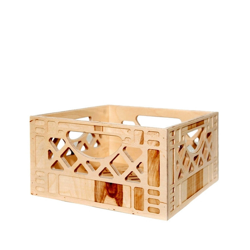 Wood Milk Crate - Short Stack