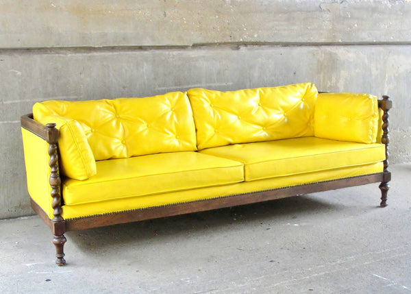 Wood-Trimmed Sofa