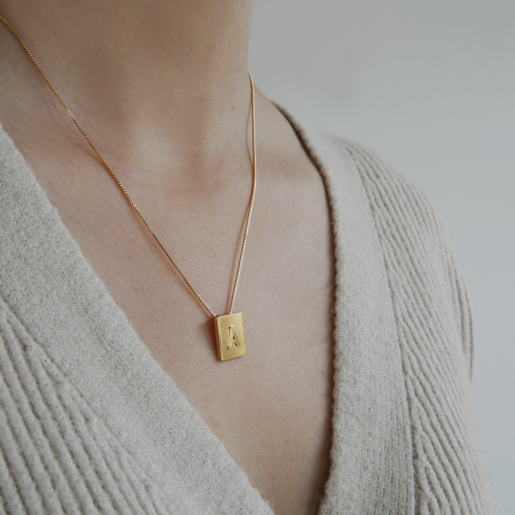 Initial Square Pendant Necklace
