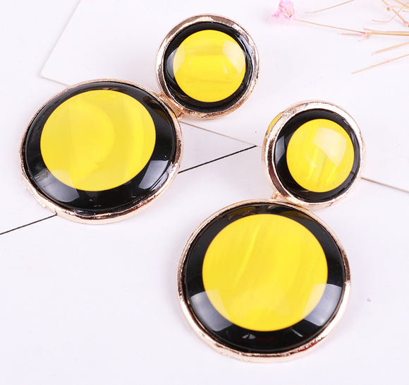 Yellow Disc Earrings