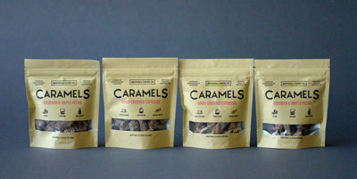 Four caramel pouches