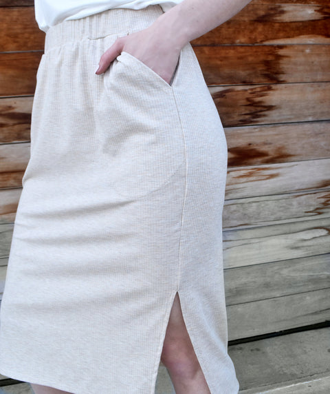 MARLAN rib-knit pencil skirt in Oatmeal