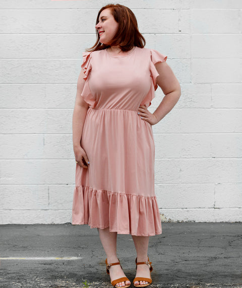 ADA flutter tank dress in  New Peach